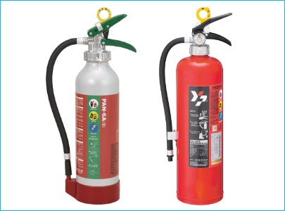 各種消火器、消火剤、消火器格納箱、消火用品の販売